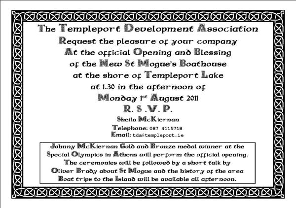 Invitation to opening of new bopathouse
