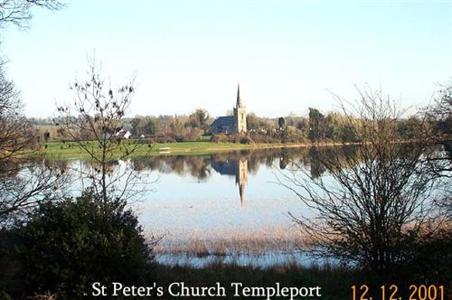 St Peter's Church Templeport from the other side of Templeport Lake